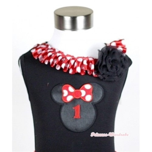 Black Tank Tops with 1st Birthday Number Minnie Print with Minnie Dots Satin Lacing & One Black Rose TB336