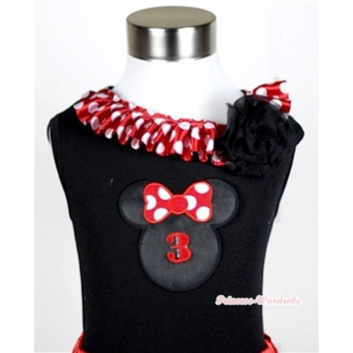 Black Tank Tops with 3rd Birthday Number Minnie Print with Minnie Dots Satin Lacing & One Black Rose TB338