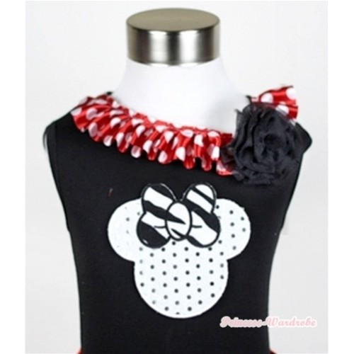 Black Tank Tops with Sparkle White Minnie Print with Minnie Dots Satin Lacing & One Black Rose TB342