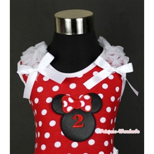 Minnie Dots Tank Top With 2nd Birthday Number Minnie Print with White Ruffles & White Bow TP139