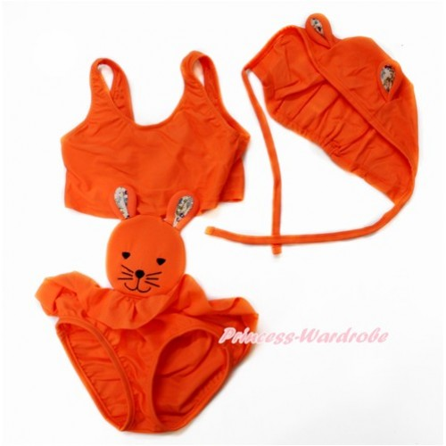 Easter Orange Bunny Rabbit Swimming Suit with Cap SW70