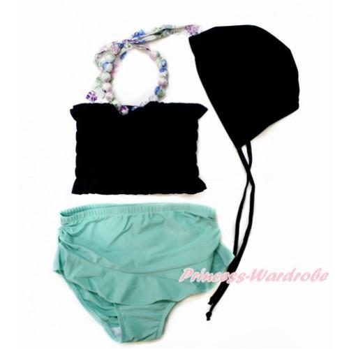 Flower Halter Black Tube Top & Aqua Blue Swimming Suit with Black Cap SW72