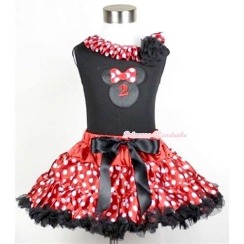 Black Tank Top with 2nd Birthday Number Minnie Print with Minnie Dots Satin Lacing & One Black Rose With Minnie Polka Dots Pettiskirt MG206