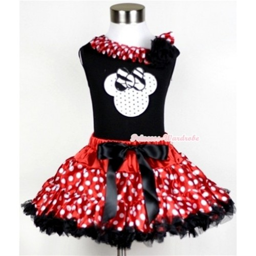Black Tank Top with Sparkle White Minnie Print with Minnie Dots Satin Lacing & One Black Rose With Minnie Polka Dots Pettiskirt MW211