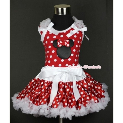 Minnie Dots Tank Top with Minnie Print with White Ruffles & White Bow & White Minnie Polka Dots Pettiskirt MH067