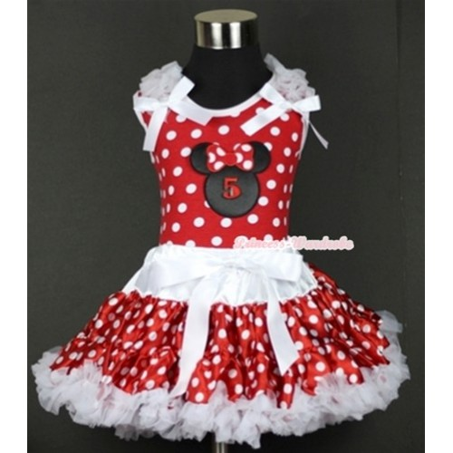 Minnie Dots Tank Top with 5th Birthday Number Minnie Print with White Ruffles & White Bow & White Minnie Polka Dots Pettiskirt MH072