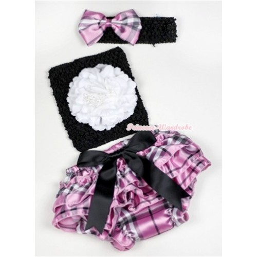 Black Big Bow Light Pink Checked Satin Panties Bloomer with White Peony Black Crochet Tube Top With Black Headband Light Pink Checked Satin Bow 3PC Set CT521