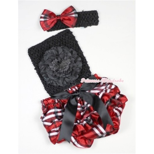 Black Big Bow Red Black Checked Satin Panties Bloomer with Black Peony Black Crochet Tube Top With Black Headband Red Black Checked Satin Bow 3PC Set CT523