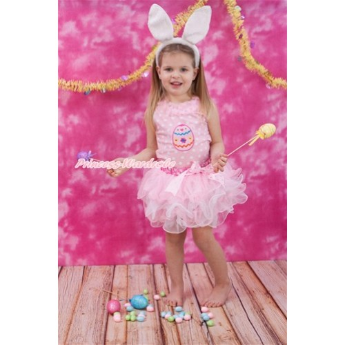 Easter Light Pink White Dots Tank Top With Light Pink Chiffon Lacing With Easter Egg Print With Light Hot Pink Dots Bow Hot Pink White Dots Waist Light Pink White Petal Pettiskirt MH164