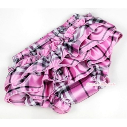 Light Pink Checked Satin Layer Panties Bloomers BC125