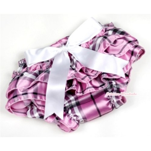 Light Pink Checked Satin Layer Panties Bloomers With White Big Bow BC126