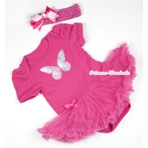 Hot Pink Baby Jumpsuit Hot Pink Pettiskirt With Rainbow Butterfly Print With Hot Pink Headband Hot Light Pink Screwed Ribbon Bow JS398
