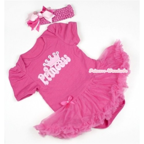 Hot Pink Baby Jumpsuit Hot Pink Pettiskirt With Princess Print With Hot Pink Headband Hot Light Pink Screwed Ribbon Bow JS392