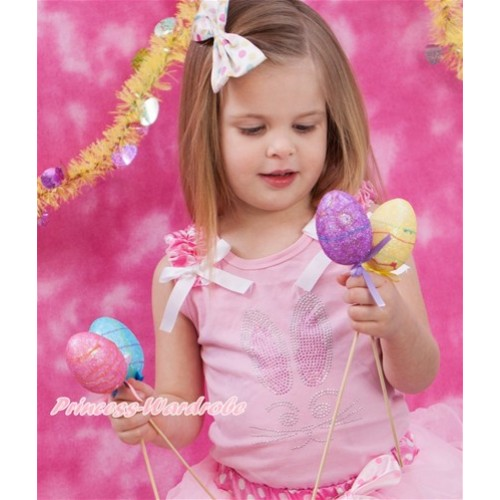 Easter Light Pink Tank Top With Hot Pink White Dots Ruffles & White Bow With Sparkle Crystal Bling Rhinestone Bunny Rabbit Print TP68