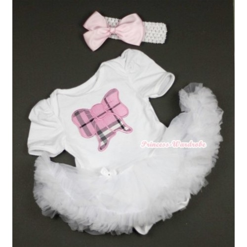 White Baby Jumpsuit White Pettiskirt With Light Pink Checked Butterfly Print With White Headband Light Pink Silk Bow JS421