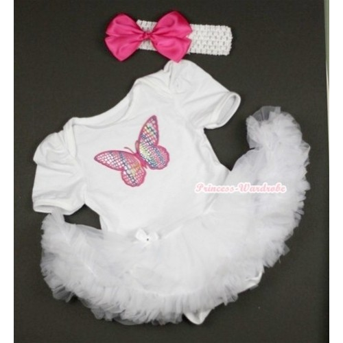 White Baby Jumpsuit White Pettiskirt With Rainbow Butterfly Print With White Headband Hot Pink Silk Bow JS423