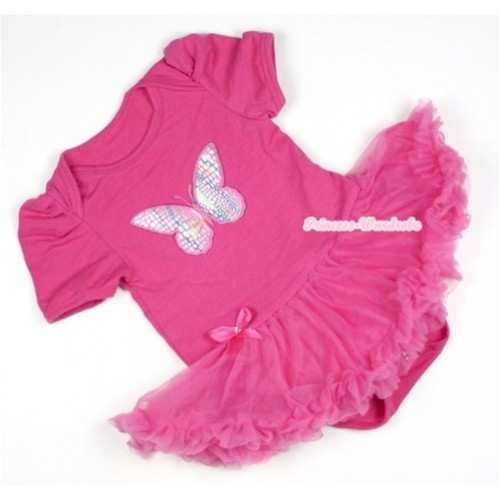 Hot Pink Baby Jumpsuit Hot Pink Pettiskirt with Rainbow Butterfly Print JS324