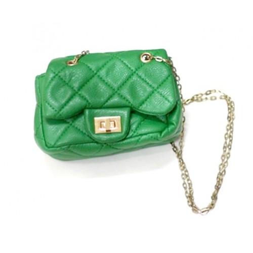 Gold Chain Kelly Green Checked Little Cute Petti Shoulder Bag CB35