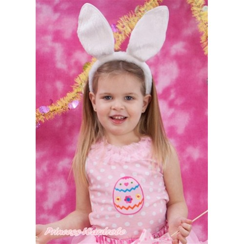 Easter Light Pink White Dots Tank Tops with Light Pink Lacing with Easter Egg Print TP190