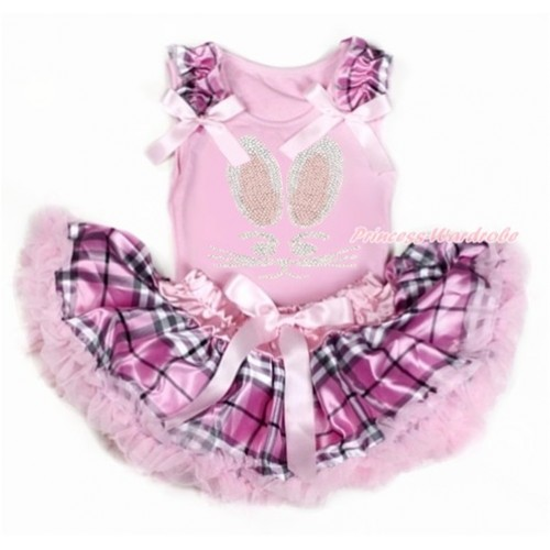 Easter Light Pink Baby Pettitop with Light Pink Checked Ruffles & Light Pink Bow with Sparkle Crystal Bling Rhinestone Bunny Rabbit Print with Light Pink Checked Newborn Pettiskirt BG128