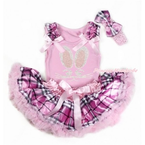 Easter Light Pink Baby Pettitop with Light Pink Checked Ruffles & Light Pink Bows with Sparkle Crystal Bling Rhinestine Bunny Rabbit Print & Light Pink Checked Newborn Pettiskirt With Light Pink Headband Light Pink Checked Satin Bow BG129