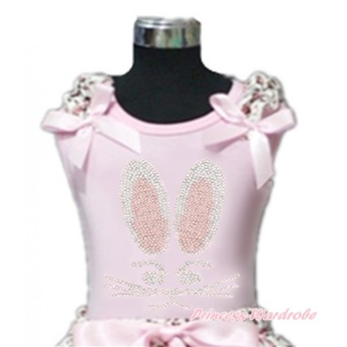 Easter Light Pink Tank Top With Light Pink Leopard Ruffles & Light Pink Bow With Sparkle Crystal Bling Rhinestone Bunny Rabbit Print TP70