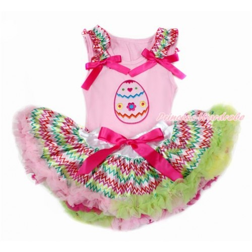 Easter Light Pink Baby Pettitop with Rainbow Wave Ruffles & Hot Pink Bow with Easter Egg Print with Rainbow Wave Newborn Pettiskirt BG132