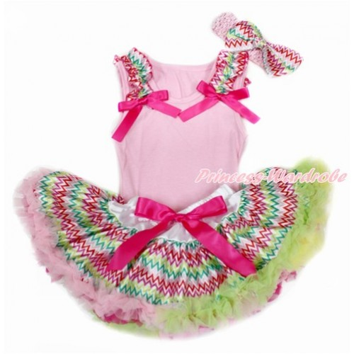Easter Light Pink Baby Pettitop & Rainbow Wave Ruffles & Hot Pink Bow with Rainbow Wave Newborn Pettiskirt With Light Pink Headband Rainbow Wave Satin Bow BG138