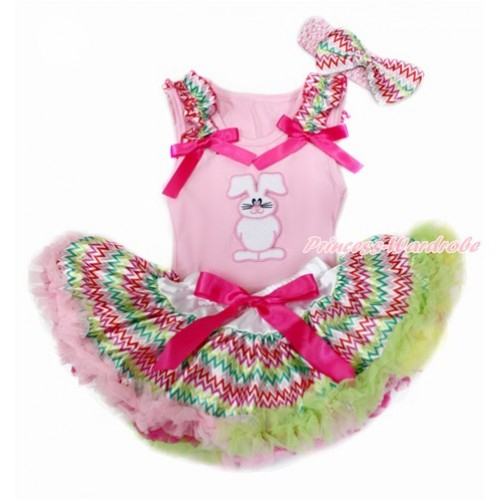 Easter Light Pink Baby Pettitop with Rainbow Wave Ruffles & Hot Pink Bows with Bunny Rabbit Print & Rainbow Wave Newborn Pettiskirt With Light Pink Headband Rainbow Wave Satin Bow BG141