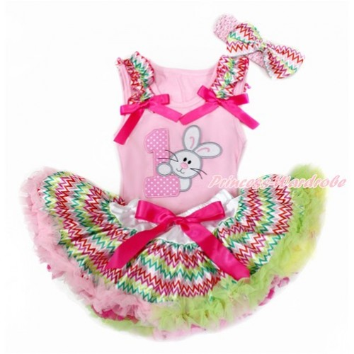 Easter Light Pink Baby Pettitop with Rainbow Wave Ruffles & Hot Pink Bows with 1st Light Pink White Dots Birthday Number & Bunny Rabbit Print & Rainbow Wave Newborn Pettiskirt With Light Pink Headband Rainbow Wave Satin Bow BG142