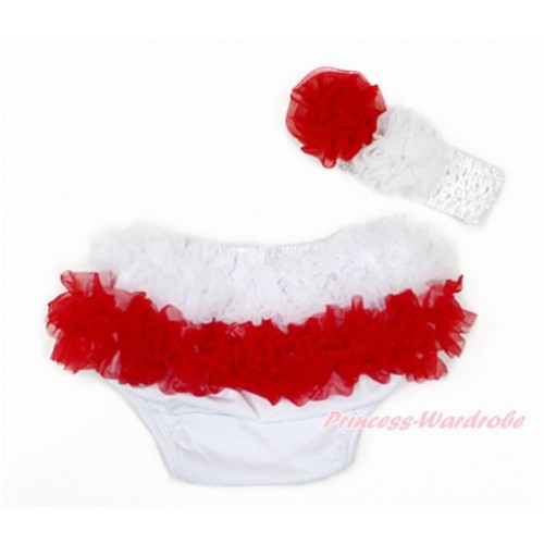 Poland White Red Ruffles World Cup Panties Bloomers & White Headband White Red Rose BA21