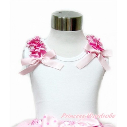 White Tank Top with Hot Pink White Dots Ruffles and Light Pink Bow TB698