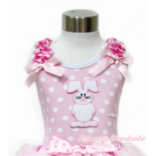 Easter Light Pink White Dots Tank Top With Hot Pink White Dots Ruffles & Light Pink Bow With Bunny Rabbit Print TP203