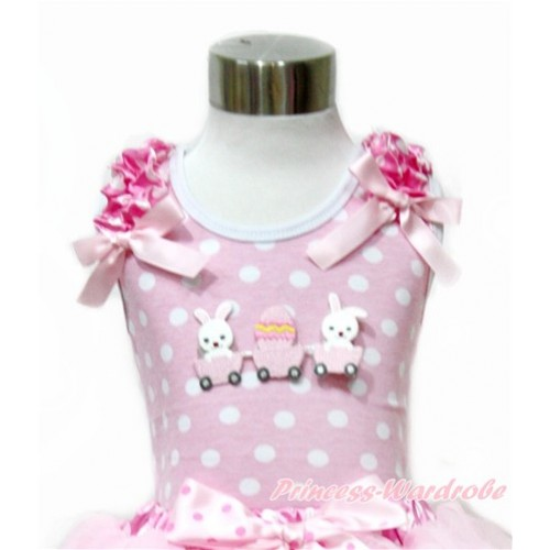 Easter Light Pink White Dots Tank Top With Hot Pink White Dots Ruffles & Light Pink Bow With Bunny Rabbit Egg Print TP206