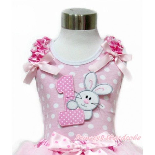 Easter Light Pink White Dots Tank Top With Hot Pink White Dots Ruffles & Light Pink Bow With 1st Light Pink White Dots Birthday Number & Bunny Rabbit Print TP208
