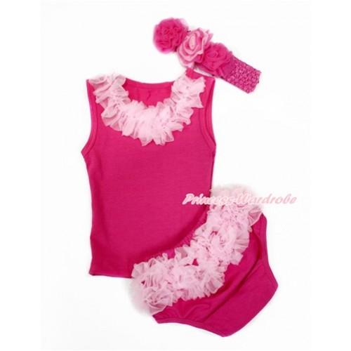 Hot Pink Baby Pettitop & Light Pink Chiffon Lacing with Light Pink Ruffles Hot Pink Panties Bloomers with Hot Pink Headband Hot Light Pink Mixed Rose LD270