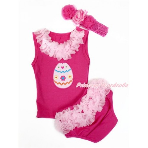 Easter Hot Pink Baby Pettitop & Light Pink Chiffon Lacing & Easter Egg Print with Light Pink Ruffles Hot Pink Panties Bloomers with Hot Pink Headband Hot Light Pink Mixed Rose LD274