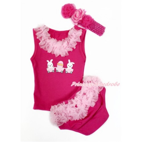 Easter Hot Pink Baby Pettitop & Light Pink Chiffon Lacing & Bunny Rabbir Egg Print with Light Pink Ruffles Hot Pink Panties Bloomers with Hot Pink Headband Hot Light Pink Mixed Rose LD276
