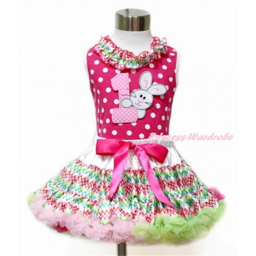 Easter Hot Pink White Dots Tank Top With Rainbow Wave Satin Lacing With 1st Light Pink White Dots Birthday Number & Bunny Rabbit Print with Rainbow Wave Pettiskirt MH167