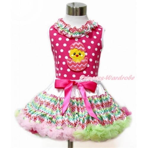 Easter Hot Pink White Dots Tank Top With Rainbow Wave Satin Lacing With Chick Egg Print with Rainbow Wave Pettiskirt MH174