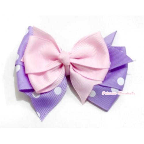 Light Pink & Lavender White Polka Dots Ribbon Bow Hair Clip H576