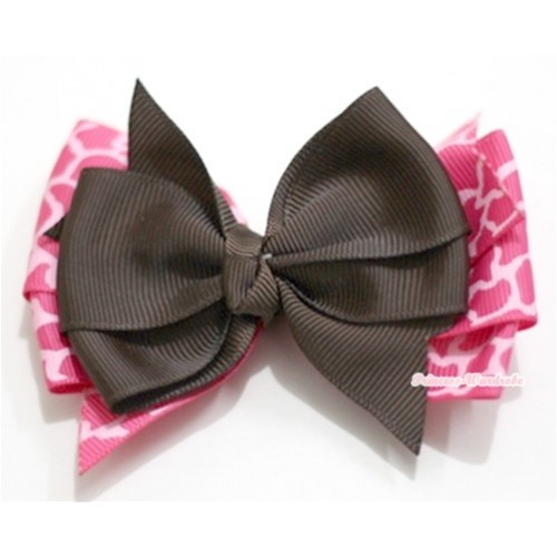 Brown & Hot Pink Giraffe Ribbon Bow Hair Clip H578