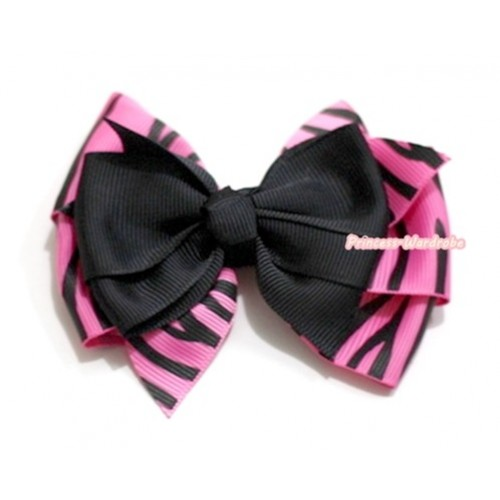 Black & Hot Pink Zebra Ribbon Bow Hair Clip H575