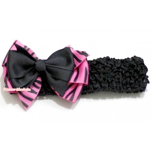 Black Headband with Black & Hot Pink Zebra Ribbon Bow Hair Clip H579