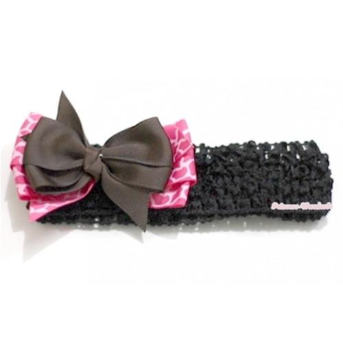 Black Headband with Brown & Hot Pink Giraffe Ribbon Hair Bow Clip H582