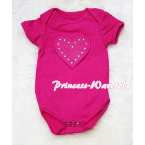 Hot Pink Baby Jumpsuit with Hot Pink Heart Print TH41