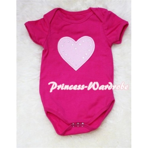 Hot Pink Baby Jumpsuit with Light Pink Heart Print TH39