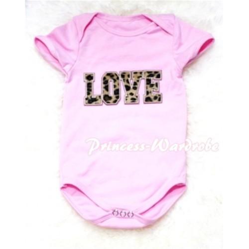 Light Pink Baby Jumpsuit with Leopard Love Print TH58