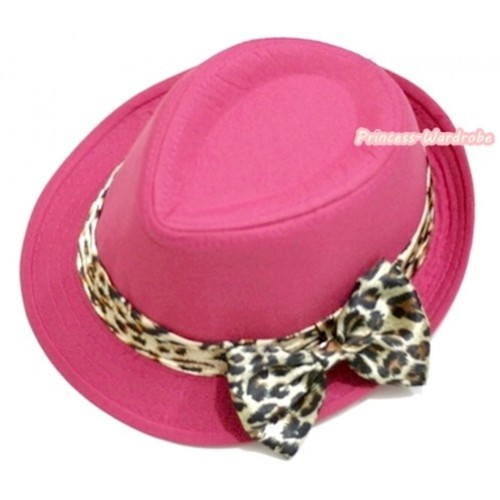 Leopard Lacing Hot Pink Jazz Hat With Leopard Satin Bow H596