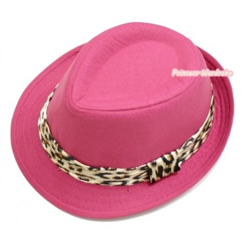 Leopard Lacing Hot Pink Jazz Hat H595